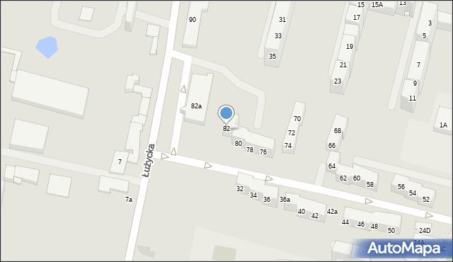 Bytom, Łużycka, 82, mapa Bytomia