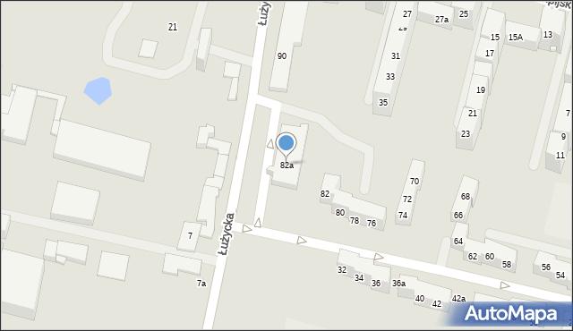 Bytom, Łużycka, 82a, mapa Bytomia