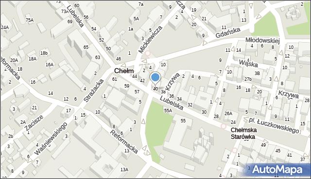 Chełm, Lubelska, 40, mapa Chełma