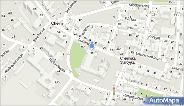 Chełm, Lubelska, 55, mapa Chełma