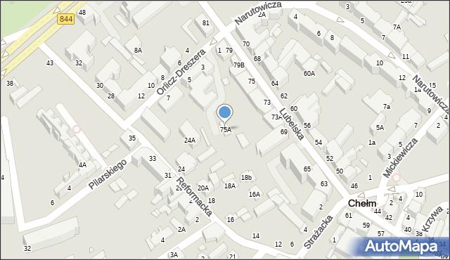 Chełm, Lubelska, 75A, mapa Chełma