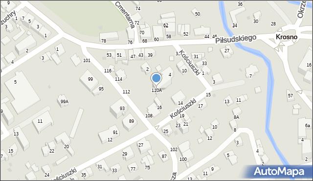 Krosno, Łukasiewicza Ignacego, 110A, mapa Krosna