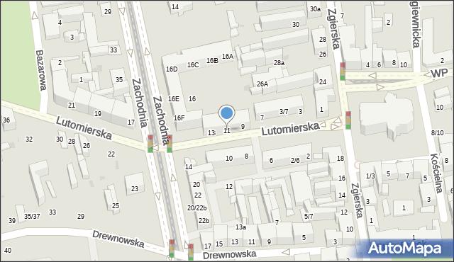 Łódź, Lutomierska, 11, mapa Łodzi