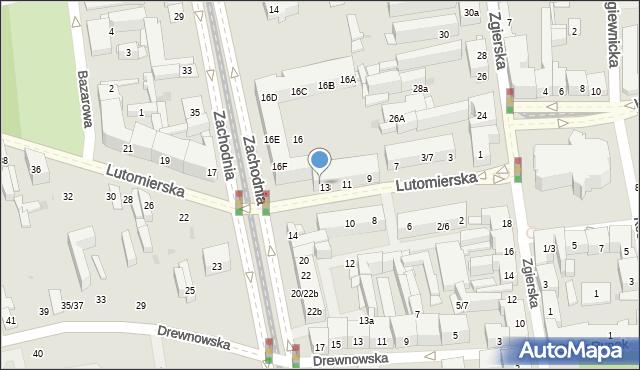 Łódź, Lutomierska, 9/13, mapa Łodzi