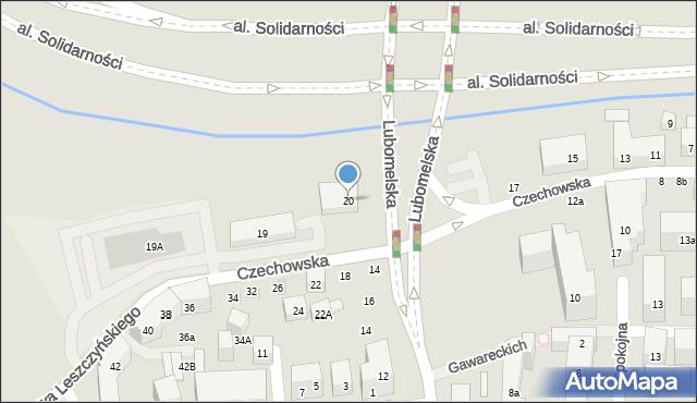 Lublin, Lubomelska, 20, mapa Lublina