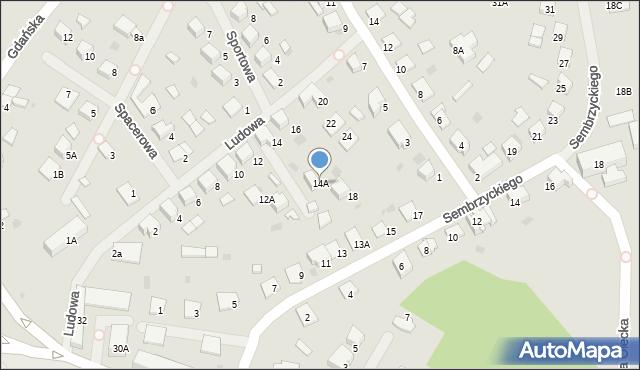 Olecko, Ludowa, 14A, mapa Olecko