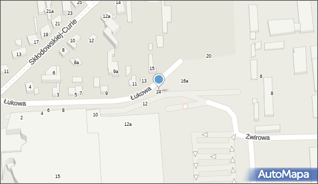 Toruń, Łukowa, 14, mapa Torunia