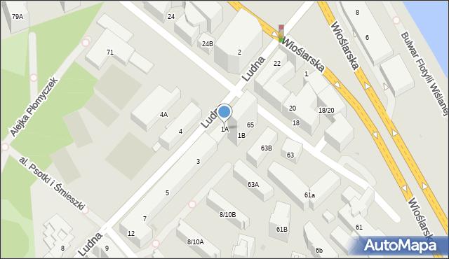 Warszawa, Ludna, 1A, mapa Warszawy
