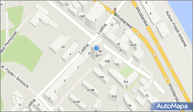 Warszawa, Ludna, 1B, mapa Warszawy