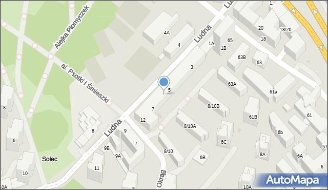 Warszawa, Ludna, 5A, mapa Warszawy