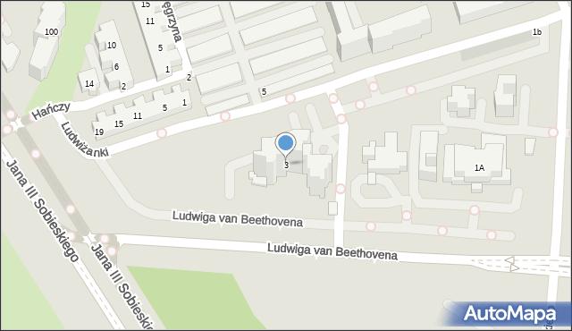 Warszawa, Ludwiga van Beethovena, 3, mapa Warszawy