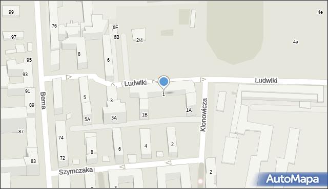 Warszawa, Ludwiki, 1, mapa Warszawy