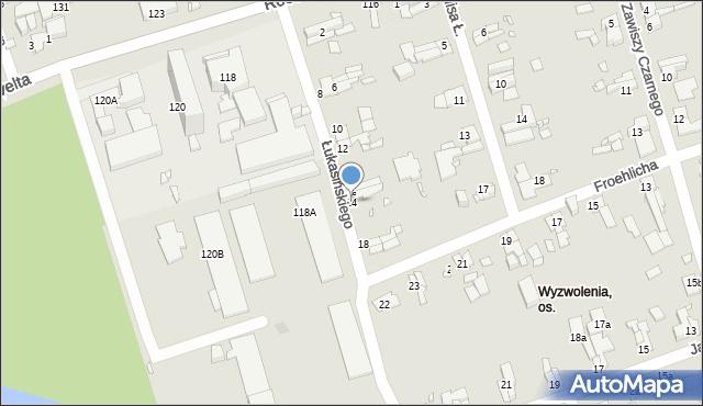 Zabrze, Łukasińskiego Waleriana, mjr., 14, mapa Zabrza