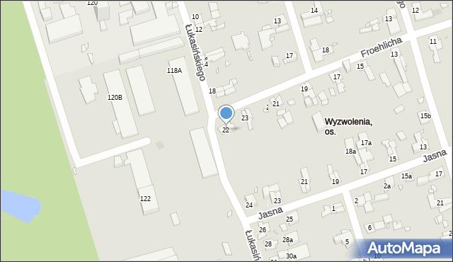 Zabrze, Łukasińskiego Waleriana, mjr., 22, mapa Zabrza