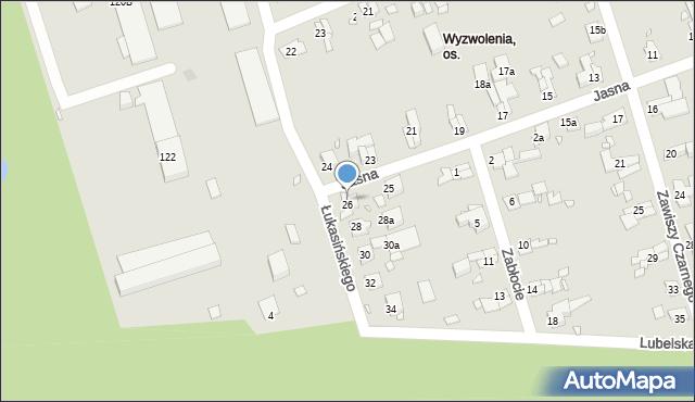 Zabrze, Łukasińskiego Waleriana, mjr., 26, mapa Zabrza