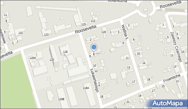 Zabrze, Łukasińskiego Waleriana, mjr., 6, mapa Zabrza