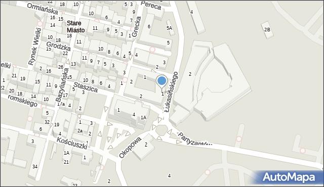 Zamość, Łukasińskiego Waleriana, mjr., 1, mapa Zamościa