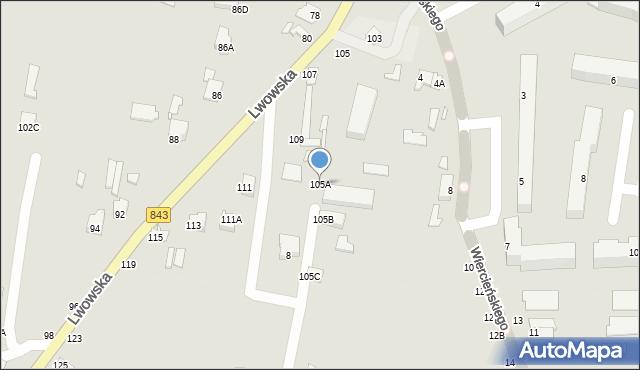Chełm, Lwowska, 105A, mapa Chełma