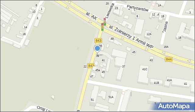 Chełm, Lwowska, 39, mapa Chełma