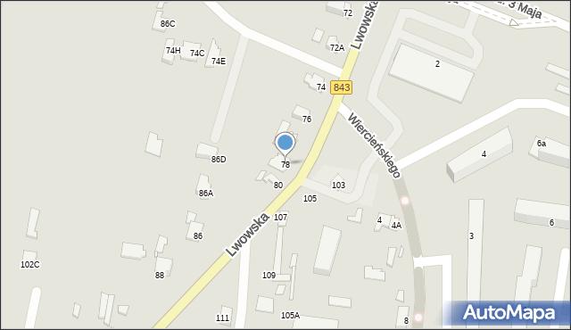 Chełm, Lwowska, 78, mapa Chełma