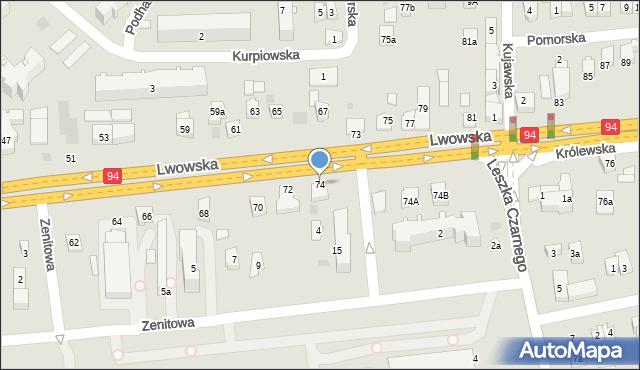 Rzeszów, Lwowska, 74, mapa Rzeszów