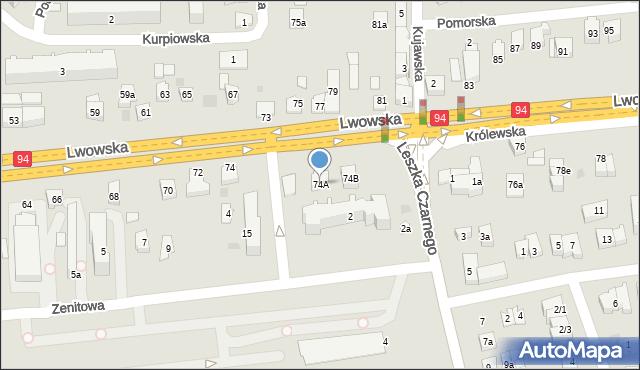 Rzeszów, Lwowska, 74A, mapa Rzeszów
