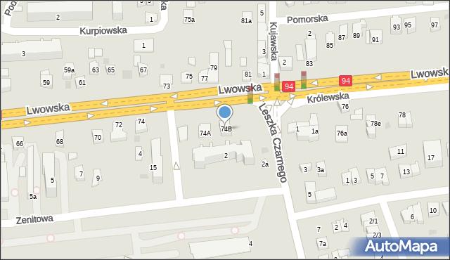 Rzeszów, Lwowska, 74B, mapa Rzeszów