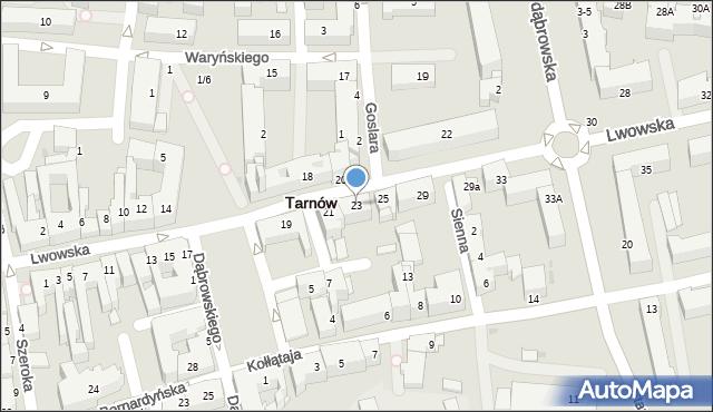 Tarnów, Lwowska, 23, mapa Tarnów
