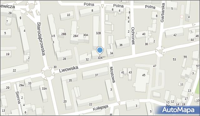 Tarnów, Lwowska, 32A, mapa Tarnów
