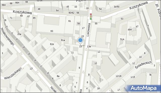 Warszawa, Lwowska, 13, mapa Warszawy