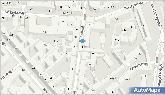 Warszawa, Lwowska, 13a, mapa Warszawy