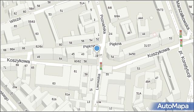 Warszawa, Lwowska, 19, mapa Warszawy