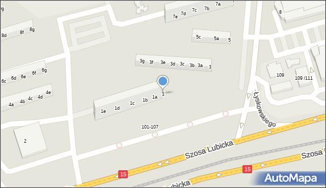 Toruń, Łyskowskiego Ignacego, 1, mapa Torunia