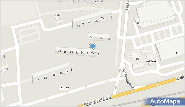 Toruń, Łyskowskiego Ignacego, 3a, mapa Torunia
