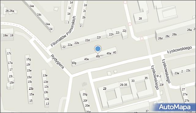 Toruń, Łyskowskiego Ignacego, 40c, mapa Torunia
