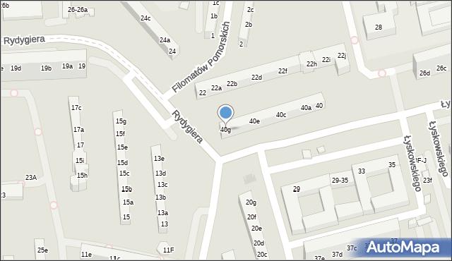 Toruń, Łyskowskiego Ignacego, 40g, mapa Torunia