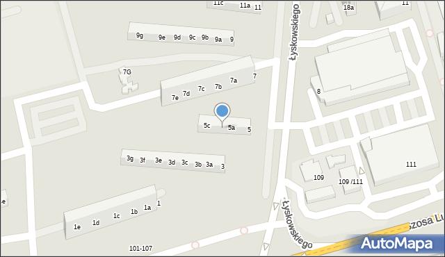 Toruń, Łyskowskiego Ignacego, 5b, mapa Torunia