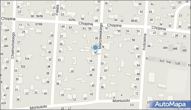 Częstochowa, Malczewskiego Jacka, 32A, mapa Częstochowy
