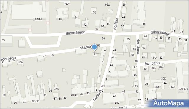 Częstochowa, Marconiego Guglielmo, 9, mapa Częstochowy