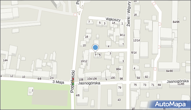 Częstochowa, Małachowskiego Stanisława, 7, mapa Częstochowy