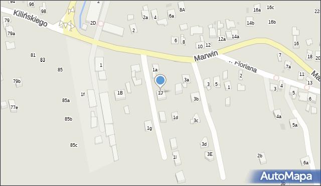 Dobczyce, Marwin, 1J, mapa Dobczyce