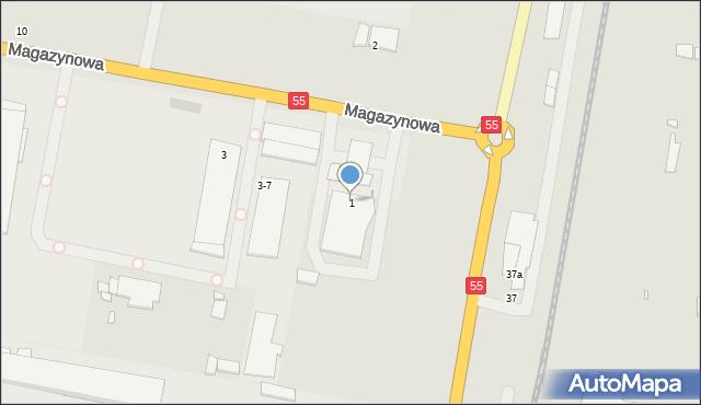 Grudziądz, Magazynowa, 1, mapa Grudziądza