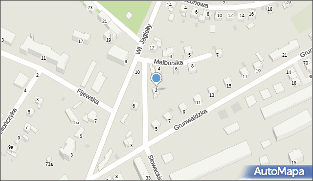 Grudziądz, Malborska, 2, mapa Grudziądza