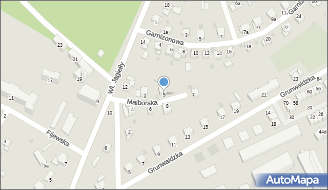 Grudziądz, Malborska, 5, mapa Grudziądza