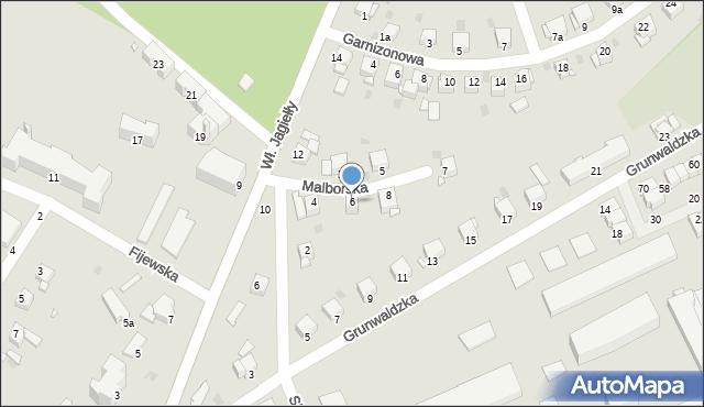 Grudziądz, Malborska, 6, mapa Grudziądza