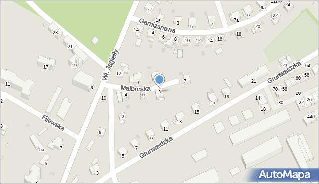 Grudziądz, Malborska, 8, mapa Grudziądza