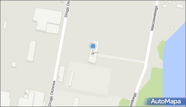 Grudziądz, Malczewskiego Jacka, 14, mapa Grudziądza