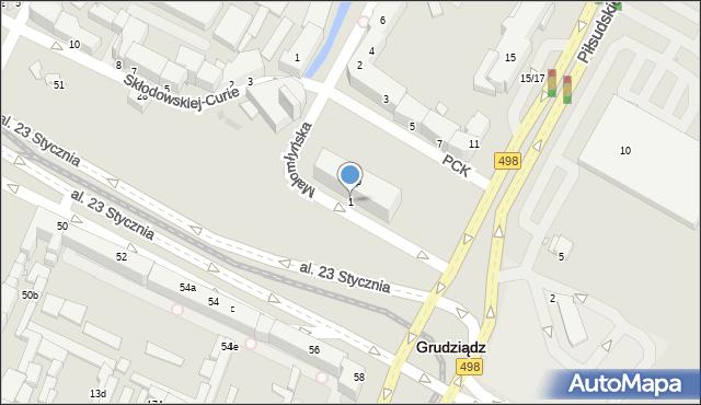 Grudziądz, Małomłyńska, 1, mapa Grudziądza