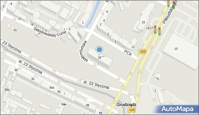 Grudziądz, Małomłyńska, 1p, mapa Grudziądza