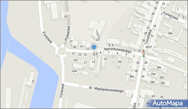 Grudziądz, Marcinkowskiego, 11, mapa Grudziądza